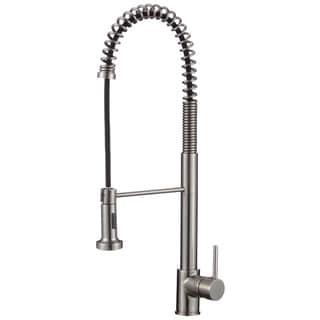 Lead-free 24.2-inch High Arch Single-handle Pull-down Sprayer Kitchen Faucet with Soap Dispenser in Brushed Nickel