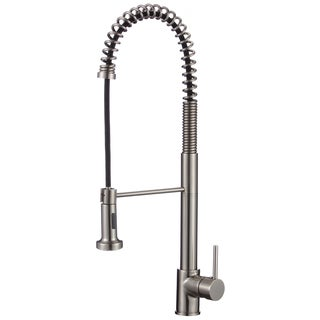 Lead-free 24.2-inch High Arch Single-handle Pull-down Sprayer Kitchen Faucet with Soap Dispenser in Brushed Nickel (As Is Item)