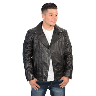 Men's Lambskin Leather Shoulder Studded Zip Jacket