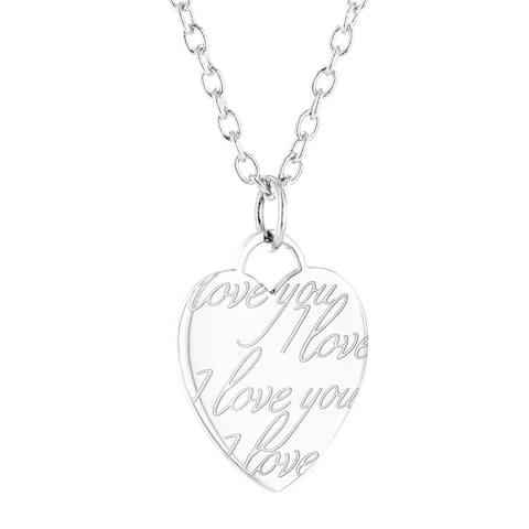 ELYA Stainless Steel Laser Engraved 'I Love You' Heart Pendant - Silver