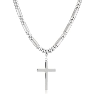 Women's Stainless Steel Beaded Cross Necklace