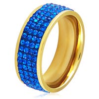 Women's Gold Plated Stainless Steel Blue Crystal Ring