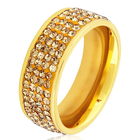 Women's Gold Plated Stainless Steel Champagne Crystal Ring - White