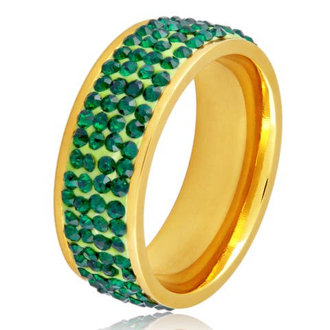 Women's Gold Plated Stainless Steel Green Crystal Ring
