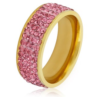 Women's Gold Plated Stainless Steel Pink Crystal Ring