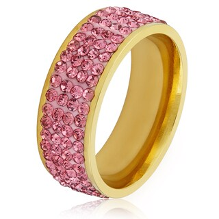 Women's Gold Plated Stainless Steel Pink Crystal Ring (More options available)