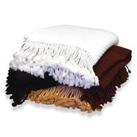 "Peach Couture Home Collection Authentic 100-percent Cashmere Soft and Warm Luxurious Basketweave Throw with Tassels - 50"" x 60"""