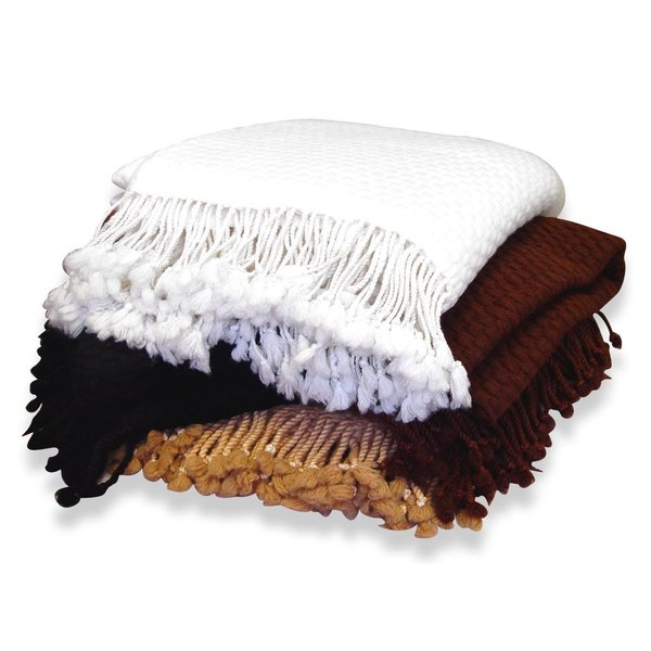 Peach Couture Home Collection Authentic 100-percent Cashmere Soft and Warm Luxurious Basketweave Throw with Tassels