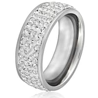 Women's Gold-plated Stainless Steel White Crystal Ring