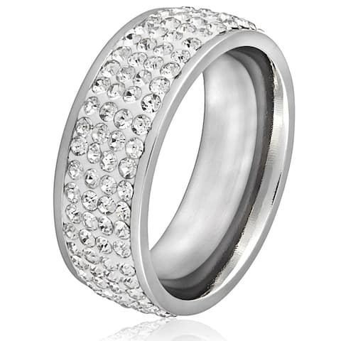 Stainless Steel White Crystal Ring
