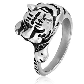 Crucible Stainless Steel Tiger Cast Ring White