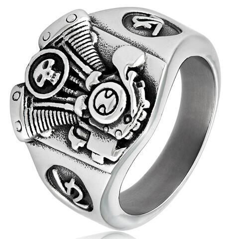 Crucible Men's Stainless Steel V2 Engine Biker Cast Ring - White