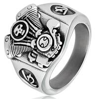 Crucible Men's Stainless Steel V2 Engine Biker Cast Ring - Silver