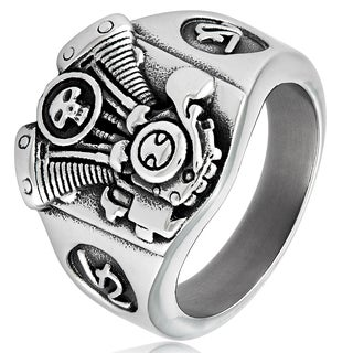 Crucible Men's Stainless Steel V2 Engine Biker Cast Ring - White