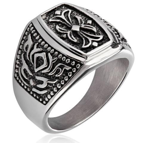 Crucible Stainless Steel Fleur de Lis Cast Ring - White