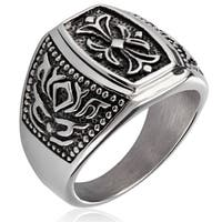 Crucible Stainless Steel Fleur de Lis Cast Ring - Silver