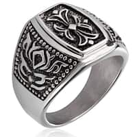 Crucible Stainless Steel Fleur de Lis Cast Ring - White