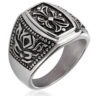 Crucible Stainless Steel Fleur de Lis Cast Ring - White (More options available)