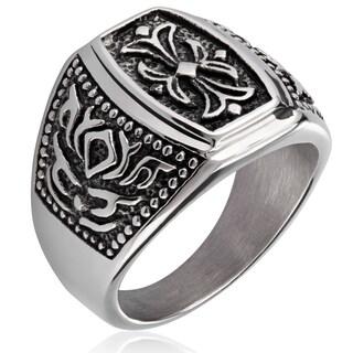 Crucible Stainless Steel Fleur de Lis Cast Ring - Silver