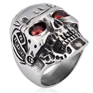Crucible Stainless Steel Cubic Zirconia Skull Cast Ring