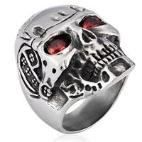 Crucible Stainless Steel Cubic Zirconia Skull Cast Ring - Silver