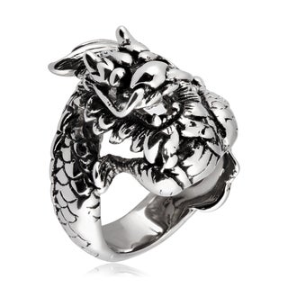 Crucible Stainless Steel Dragon Cast Ring - White