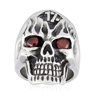 Crucible Stainless Steel Cubic Zirconia Outlaw Skull Ring