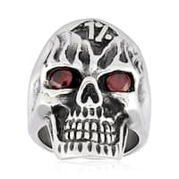 Crucible Stainless Steel Cubic Zirconia Outlaw Skull Ring - Silver