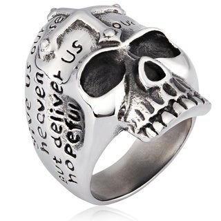 Crucible Stainless Steel Cross and Prayer Skull Cast Ring
