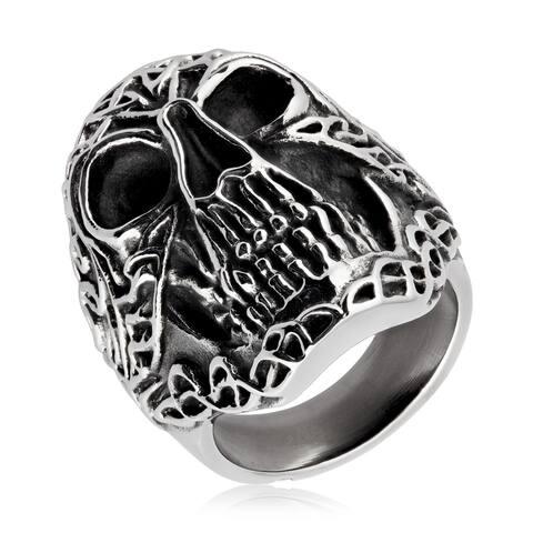 Crucible Men's Antique-finish Celtic Skull Stainless Steel Ring - White