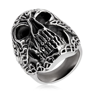 Crucible Men's Antique-finish Celtic Skull Stainless Steel Ring
