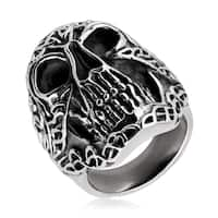 Crucible Men's Antique-finish Celtic Skull Stainless Steel Ring - White