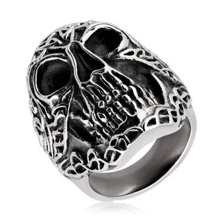 Crucible Men's Antique-finish Celtic Skull Stainless Steel Ring - White (More options available)