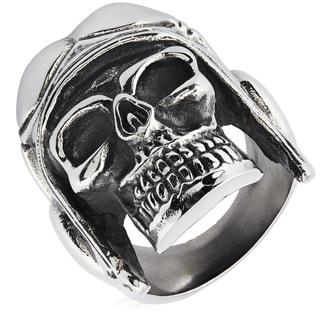 Crucible Stainless Steel Aviator Skull Cast Ring
