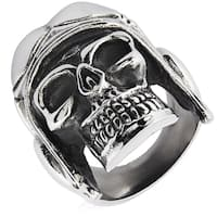Crucible Stainless Steel Aviator Skull Cast Ring - White