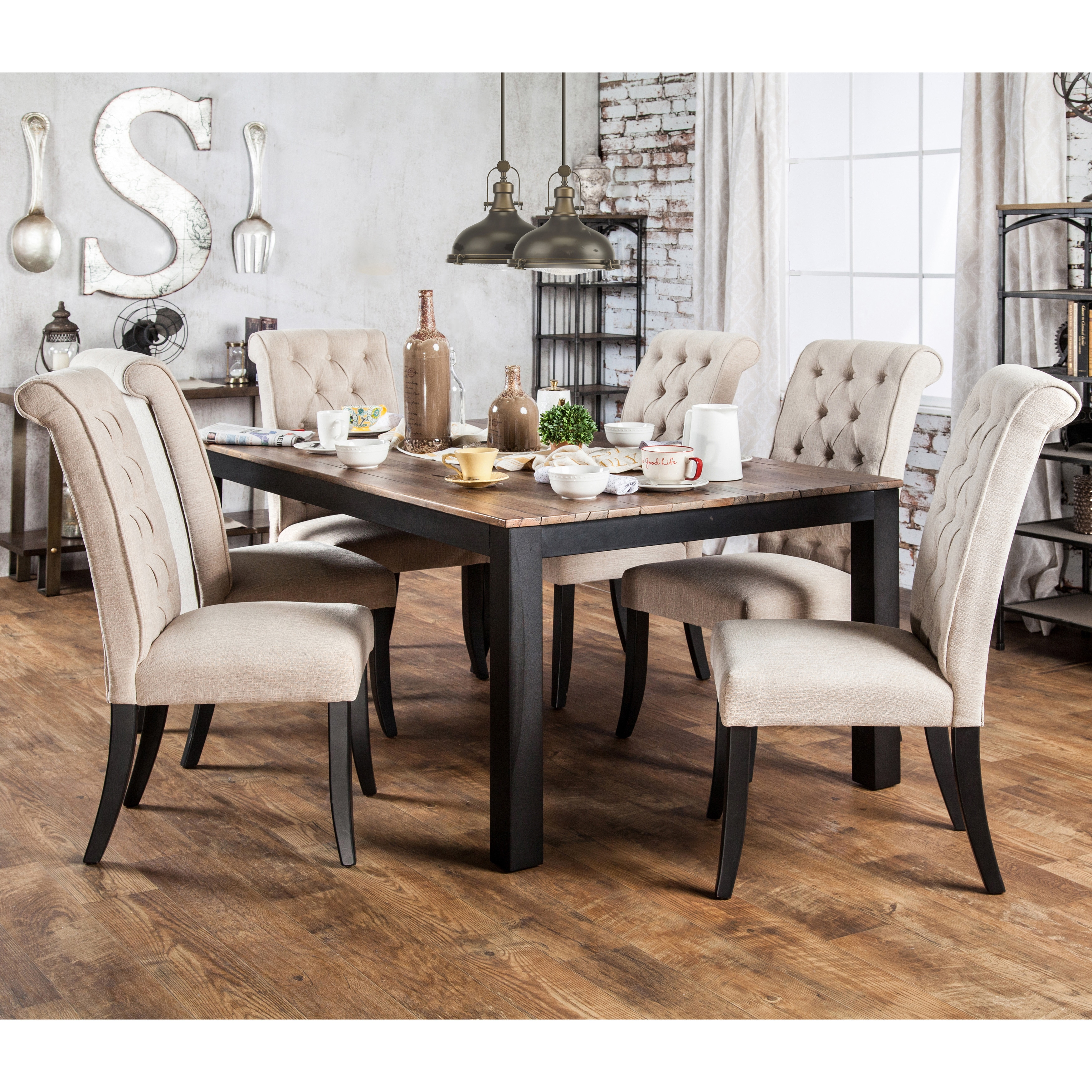 Copper Grove Bogs Mountain Rustic Two Tone Dining Table Black