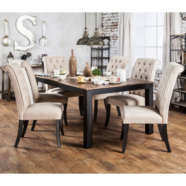Rustic Dining Room Table Sets: Furniture Of America Sheila Rustic Two-Tone Dining Table