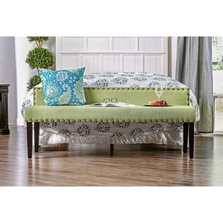 Furniture of America Simone Flax Upholstered Backed Accent Bench