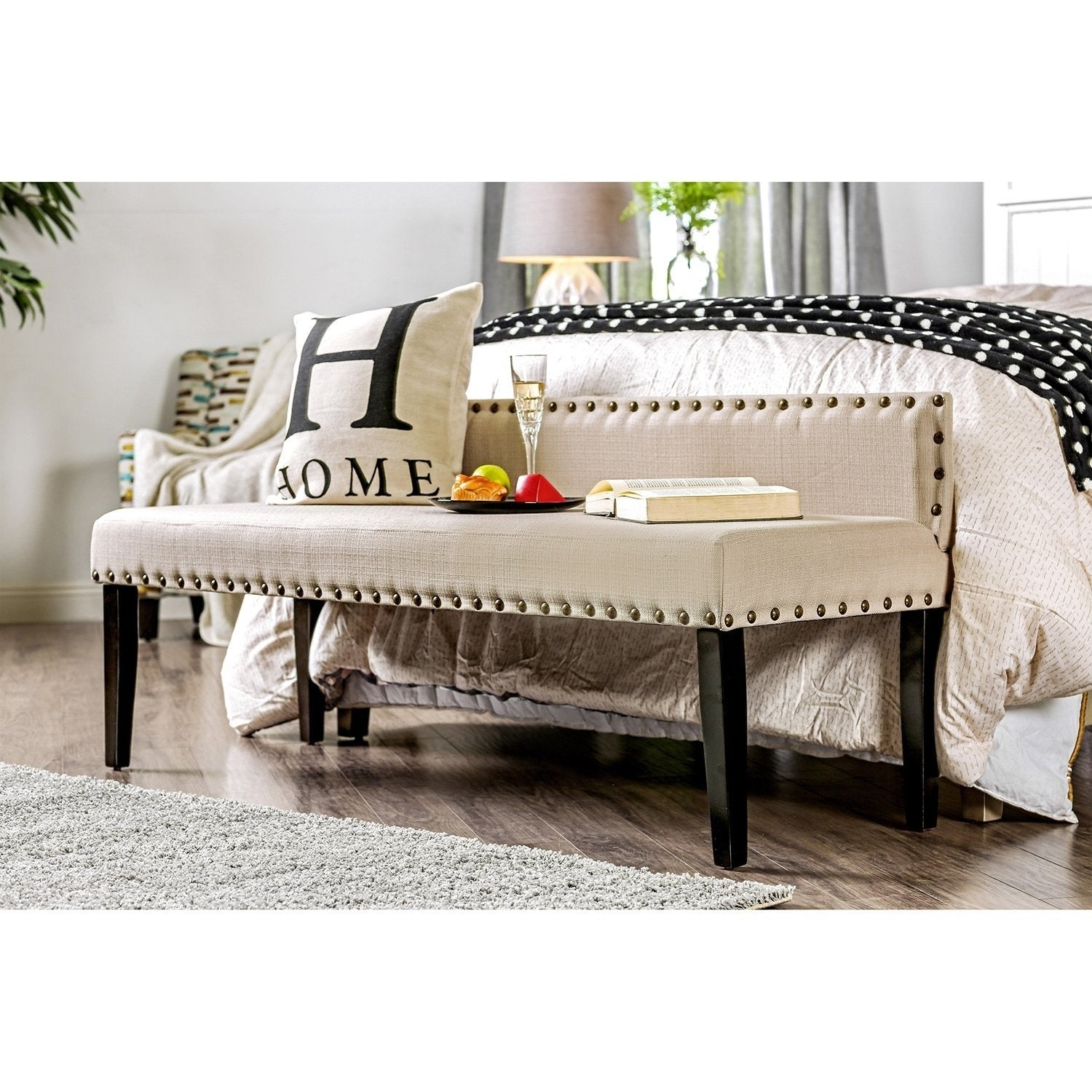 Simone Contemporary Upholstered Accent Bench by FOA