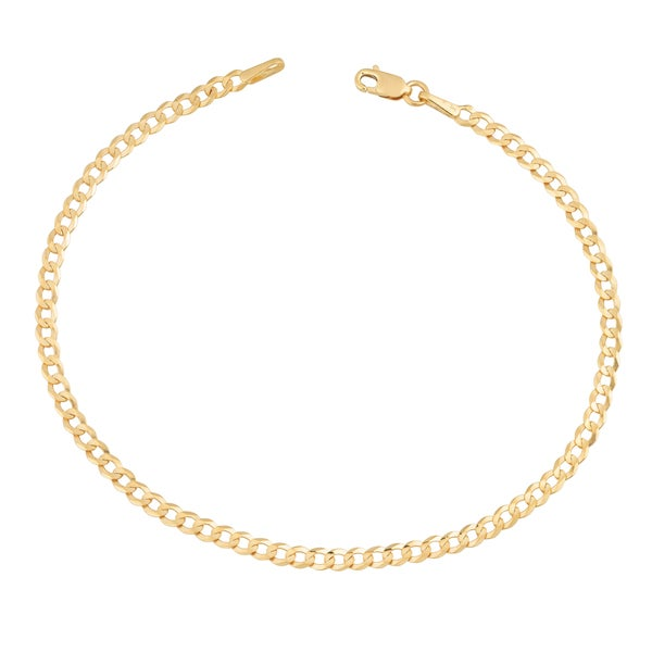 Fremada 14k Yellow Gold 2.6-mm High Polish Solid Curb Link Bracelet