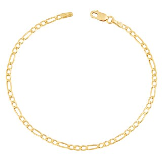 Fremada 14k Yellow Gold 2.3-mm High Polish Solid Figaro Link Bracelet (7.5 inches)