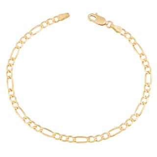 Fremada 14k Yellow Gold 3.3-mm High Polish Solid Figaro Link Bracelet (7.5 or 8.5 inches)