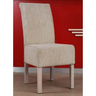 International Caravan 'Philip' Ivory Upholstered Rattan Weave Dining Chairs with Mahogany Hardwood Frame (Set of 2)