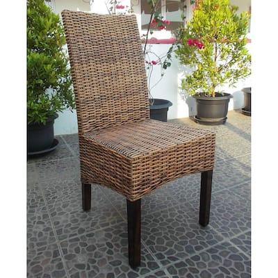 International Caravan Java Rattan Mahogany Dining Chair