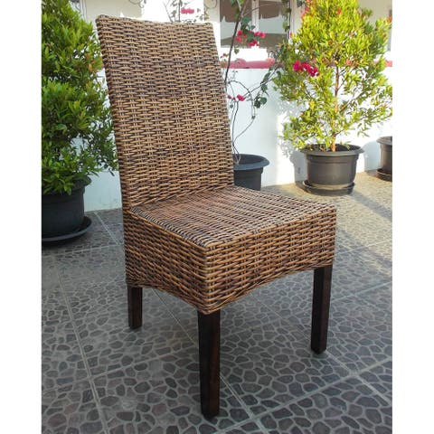International Caravan Java Rattan Mahogany Dining Chair ( Set of 2)