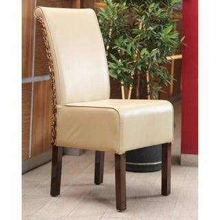 International Caravan 'Philip' Beige Upholstered Abaca Weave Dining Chairs with Mahogany Hardwood Frame (Set of 2)