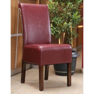 International Caravan 'Philip' Burgundy Upholstered Rattan Weave Dining Chairs with Mahogany Hardwood Frame (Set of 2)