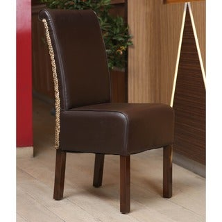 International Caravan 'Philip' Dark Brown Upholstered Hyacinth Weave Dining Chair with Mahogany Hardwood Frame