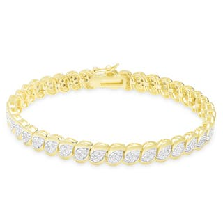 Finesque Gold Over Silver or Sterling Silver 2 ct TDW Diamond Bracelet|https://ak1.ostkcdn.com/images/products/10584805/P17659664.jpg?impolicy=medium