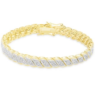 Finesque Gold Over Silver or Sterling Silver 1 ct TDW Diamond Bracelet